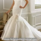 White Organza Ball Gown Strapless Wedding Dress Pleated Mermaid Bridal Gown Sz4 6 8 10 12 14+Custom