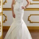 White Ivory Satin Ball Gown V-neck Wedding Dress Beaded Mermaid Bridal Gown Sz4 6 8 10 12 14+Custom