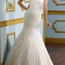 Ivory White Tulle Wedding Dress Strapless Mermaid Lace Bridal Gown Sz4 6 8 10 12 14+Custom
