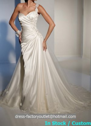 2-in-1 A-line Ivory Satin Lace Ball Gown One Shoulder Wedding Dress Bridal Gown Sz4 6 8 10 12 14+
