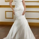 Ivory White Satin Wedding Dress Strapless Jeweled Mermaid Bridal Gown Sz4 6 8 10 12 14+Custom