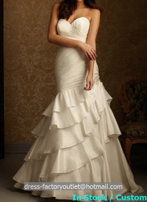 Ivory White Taffeta Wedding Dress Strapless Layered Bridal Gown Sz4 6 8 10 12 14+Custom