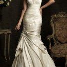 Champagne Satin Wedding Dress Strapless Bridal Prom Dress Bridal Gown Sz4 6 8 10 12 14+Custom