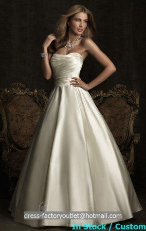 A-line White Ivory Wedding Gown Strapless Bridal Wedding Dress Gown Sz4 6 8 10 12 14+