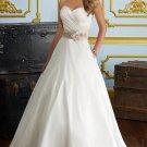 A-line White Taffeta Strapless Champagne Jeweled Sash Bridal Wedding Dress Gown Sz4 6 8 10 12 14+