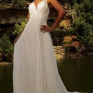 A-line Bridal Dress Halter Sheer Straps White Chiffon Jeweled Royal Wedding Dress Sz 4 6 8 10 12 14+