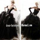 Cap Sleeves Bridal Wedding Gown Halloween Black White Organza A-ine Wedding Dress Sz 2 4 6 8 10+