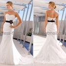 White Bridal Wedding Gown Black Flowers Sash Strapless Memaid Bridal Wedding Dress Sz4 6 8 10 12 14+