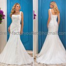 White Bridal Wedding Gown One Shoulder Lace Organza Memaid Wedding Dress Sz4 6 8 10 12 14+