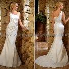 White Satin Bridal Wedding Gown One SHoulder Memaid Wedding Dress Sz4 6 8 10 12 14+Custom