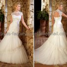 Ivory Tulle Lace Bridal Wedding Gown High Neck Memaid Wedding Dress Sz4 6 8 10 12 14+