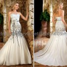 White Black Lace Bridal Wedding Gown Strapless Organza Memaid Wedding Dress Sz4 6 8 10 12 14+