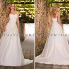 A-line Strapless Bridal Wedding Gown Cream Sash Buttons Back Wedding Dress Sz4 6 8 10 12 14+Custom