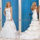 Mermaid Strapless Bridal Wedding Gown Pleated Taffeta Wedding Dress Sz4 6 8 10 12 14+Custom
