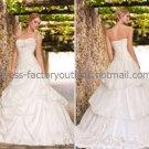 A-line Strapless Bridal Wedding Ball Gown Pleated Organza Lace Wedding Dress Sz4 6 8 10 12 14+Custom