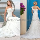 A-line One Shoulder White Organza Bridal Wedding Gown Ivory Wedding Dress Sz4 6 8 10 12 14+Custom