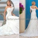 A-line One Shoulder White Organza Bridal Wedding Gown Ivory Wedding Dress Sz4 6 8 10 12 14+Custom