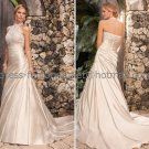 A-line Choker Neck Bridal Wedding Gown Champagne SATIN Wedding Dress Sz4 6 8 10 12 14+Custom