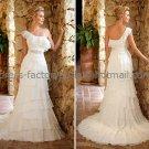 A-line One Shoulder  Bridal Wedding Gown White Ivory Chiffon Wedding Dress Sz4 6 8 10 12 14+Custom