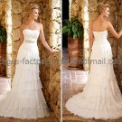 A-line Strapless Bridal Wedding Gown White Ivory Chiffon Wedding Dress Sz4 6 8 10 12 14+Custom