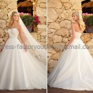 A-line Strapless Bridal Wedding Gown White Jeweled SASH Wedding Dress Sz4 6 8 10 12 14+Custom