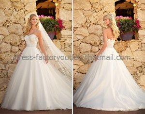 A-line Strapless Bridal Wedding Gown White Jeweled SASH Wedding Dress Sz4 6 8 10 12 14+Custom