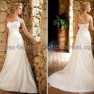 A-line One Shoulder Bridal Wedding Gown White Ivory Chiffon Wedding Dress Sz4 6 8 10 12 14+Custom