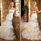 A-line Strapless Bridal Wedding Gown White Ivory SATIN Wedding Dress Sz4 6 8 10 12 14+Custom