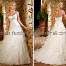 A-line Strapless Bridal Wedding Gown White Organza Wedding Dress Sz4 6 8 10 12 14+Custom