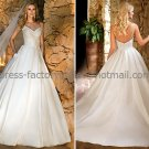 A-line Spaghetti Straps Bridal Wedding Gown White Satin Simple Wedding Dress Sz4 6 8 10 12 14+Custom