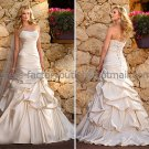 A-line Strapless Bridal Wedding Gown Champagne Satin Lace Wedding Dress Sz4 6 8 10 12 14+Custom