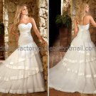 A-line Strapless Bridal Wedding Gown White Organza Satin Band Wedding Dress Sz4 6 8 10 12 14+Custom