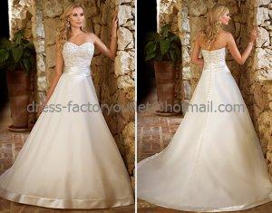 A-line Strapless Bridal Wedding Gown Ivory Organza Lace Wedding Dress Sz4 6 8 10 12 14+Custom