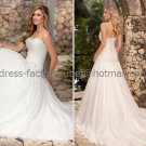 A-line Strapless Bridal Wedding Gown White Ivory Organza Wedding Dress Sz4 6 8 10 12 14+Custom