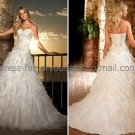 A-line Strapless Wedding Ball Gown Ivory White Embroidery Wedding Dress Sz4 6 8 10 12 14+Custom