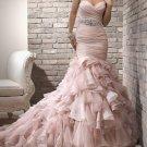 Pink Organza Tulle Bridal Wedding Gown Strapless Sweetheart Mermaid Wedding Dress Sz4 6 8 10 12 14+