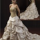 A-line Gold Bridal Wedding Ball Gown Pleated Champagne Taffeta Wedding Dress Sz4 6 8 10 12 14+Custom