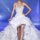 A-line Hi-low Wedding Ball Gown Luxury Jeweled Bodice Tulle Wedding Dress Sz4 6 8 10 12 14+Custom