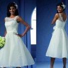 Ivory White Beach Wedding Dress Boat Lace V-neck Short Bridal Prom Gown Sz4 6 8 10 12 14+Custom