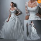 A-line White Taffeta Lace Bridal Gown 3/4 Sleeve Wedding DresS Bridal Ball Gown Sz 2 4 6 8 10 12+