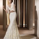 Mermaid 3/4 Sleeve White Lace Wedding Gown V-neck Bridal Dress Sz4 6 8 10 12 14+Custom