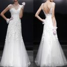 Column Sheath Off Shoulder V-neck Lace Wedding Gown Purple SASH Bridal Dress Sz4 6 8 10 12 14+Custom