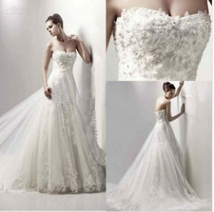 A-line Strapless Ivory Alencon Lace Wedding Gown Long Train Bridal Dress Sz4 6 8 10 12 14+Custom