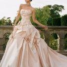 Princess Strapless Ruffled Pink Satin Wedding Ball Gown Bridal Dress Sz4 6 8 10 12 14+Custom