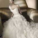 A-line Wedding Ball Gown One Shoulder Ruffles Organza Bodice Wedding Dress Sz4 6 8 10 12 14+Custom
