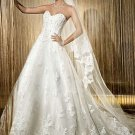 A-line White Lace Ball Gown Strapless Jeweled Bodice Bridal Wedding Dress Sz4 6 8 10 12 14+Custom
