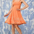 Thin Straps Short Bridesmaid Dress Orange Chiffon Brown Sash Cocktail Dress Sz4 6 8 10 12+