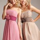 Strapless Short Bridesmaid Dress Brown Coffee Sash Cocktail Dress Sz4 6 8 10 12 14+