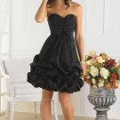 Strapless Short Bridesmaid Dress Black Taffeta Cocktail Dress Sz4 6 8 10 12 14+