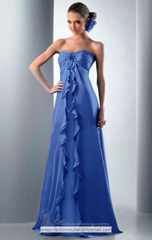 Strapless Long Bridesmaid Dress Purple Blue Green A-line Prom Evening Dress Sz6 8 10 12 14+